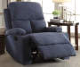 Rosia Beige Linen Recliner Lifestyle Angled Left Footrest Open