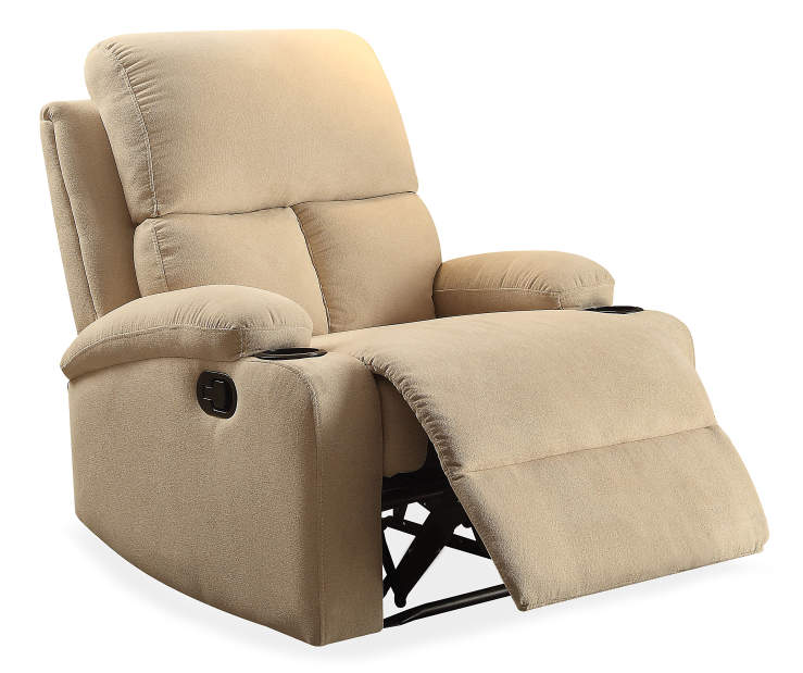 Rosia Beige Linen Recliner Silo Angled Footrest Open