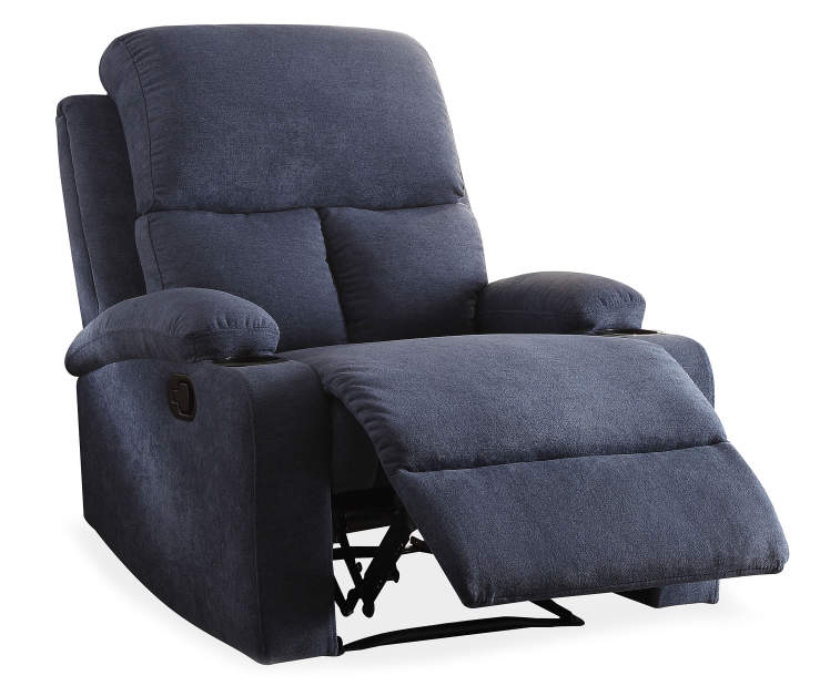 Rosia Blue Linen Recliner Silo Angled Footrest Open