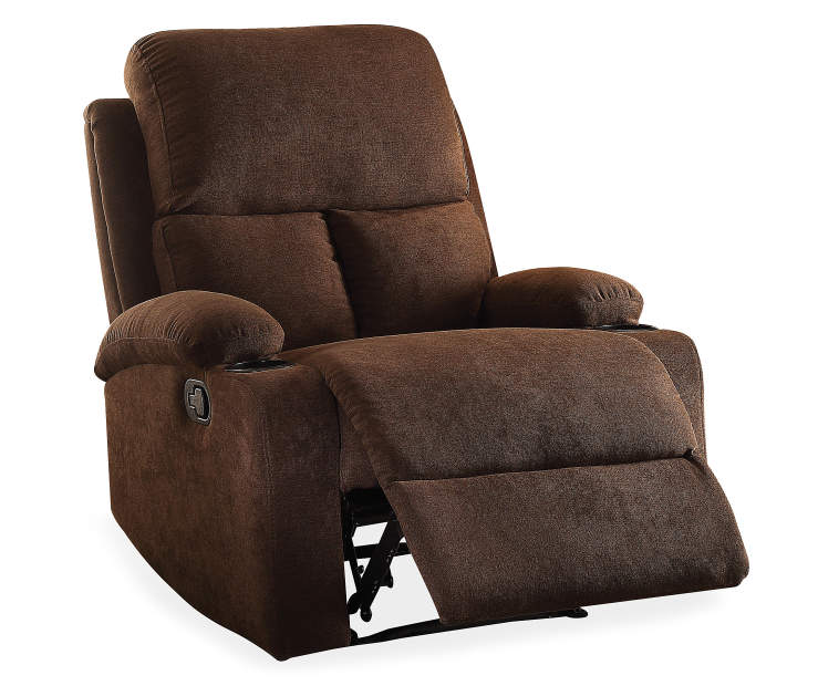 Rosia Chocolate Brown Linen Recliner Silo Angled Footrest Open