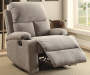 Rosia Gray Linen Recliner Lifestyle Angled Left Footrest Open