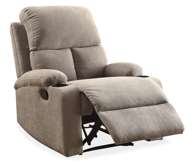 Rosia Gray Linen Recliner Silo Angled Footrest Open