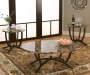 Round 3-Piece Faux Marble Coffee Table Set Room View