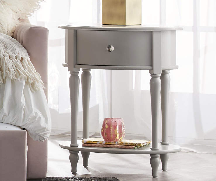 Rowan Valley Laren Dove Gray Oval Nightstand lifestyle