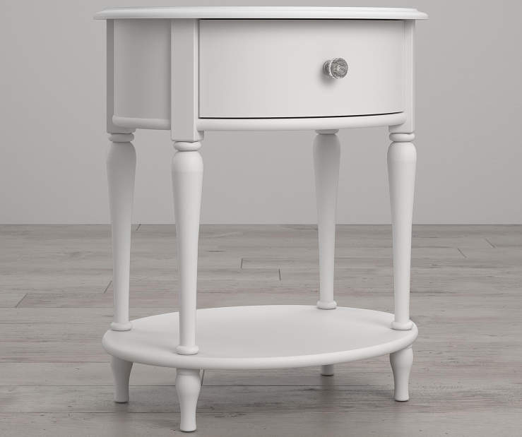 Rowan Valley Laren White Oval Nightstand lifestyle