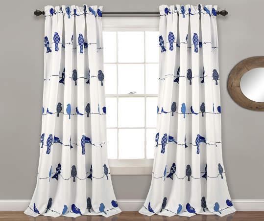 Rowley Birds Room Darkening Rod Pocket, White Room Darkening Curtains Canada
