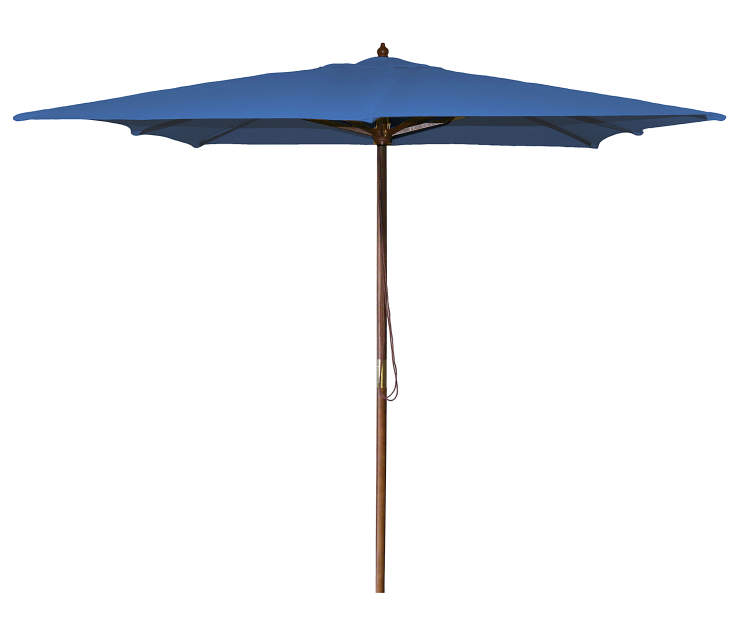 Royal Blue Square Market Patio Umbrella 8.5 Feet with Pull String Front View Silo Image