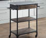 Rustic 2-Shelf Wood and Metal Kitchen Cart In Kitchen