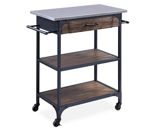 Rustic 2-Shelf Wood & Metal Kitchen Cart