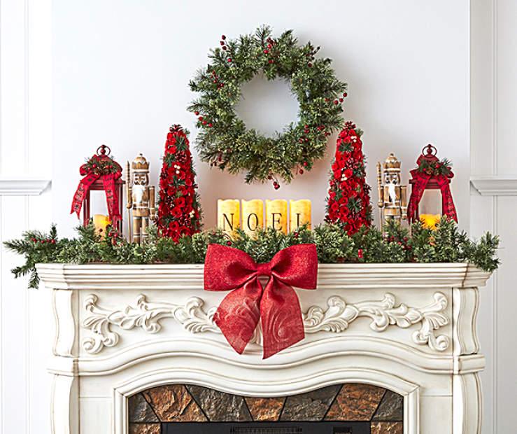 Christmas Mantel.Rustic Christmas Mantel Big Lots