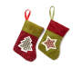 Rustic Star and Tree Minit Stockings 12 Pack showing each design with red stocking with green trim and plaid tree icon and green stocking with red trim and plaid tree icon overhead view silo image