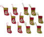 Rustic Star and Tree Minit Stockings 12 Pack showing entire set with red stocking with green trim and plaid tree icon and green stocking with red trim and plaid tree icon overhead view silo image