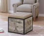 Rustic Travel Stamped Storage Ottoman Lifestyle Image with Chair