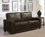 Rustic Walnut Faux Leather Sofa lifestyle