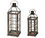 S/2 Wood Frame Metal Lantern