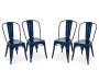 S/4 Navy Blue Metal Side Chair
