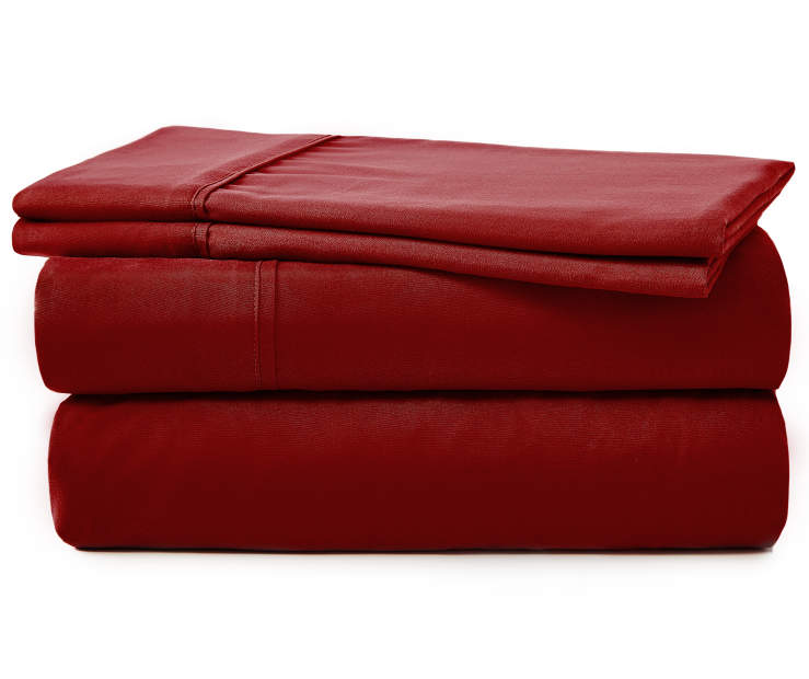 SERTA QUEEN SHEET SET RED RHUBARB