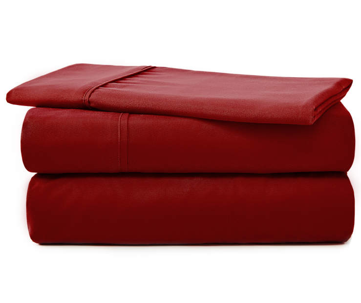 SERTA TWIN SHEET SET RED RHUBARB