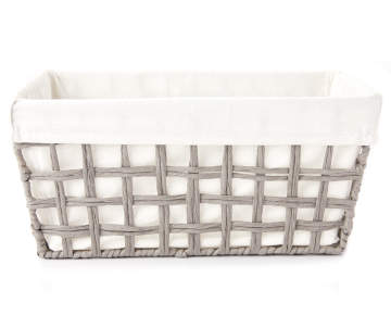 25c8aeab75ddc Home Essentials Medium Gray Paper Rope Storage Basket with Linen Liner Home  Essentials Medium Gray Paper Rope Storage Basket w.
