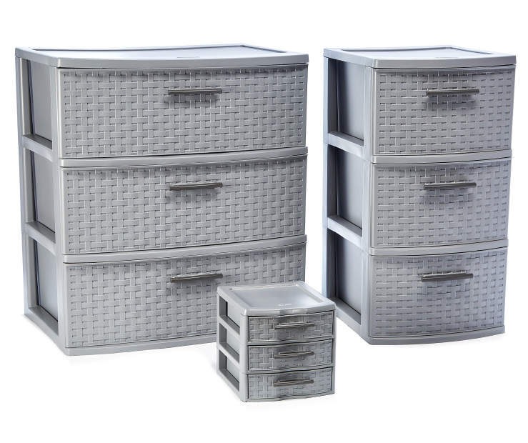 Sterilite Titanium Gray 3 Drawer Weave Carts Big Lots