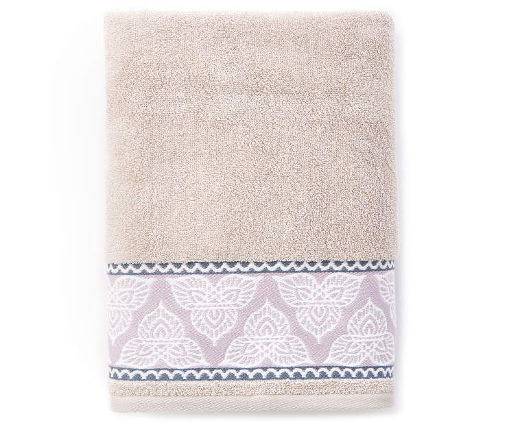 Safi Lavender and Gray Bath Towel silo front