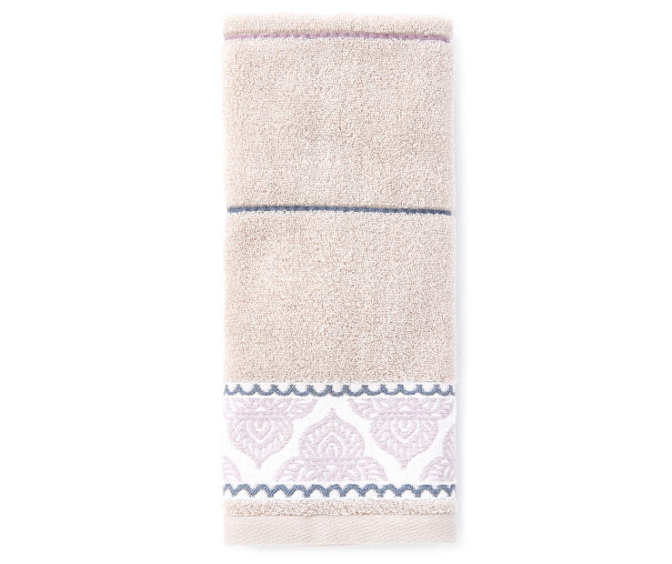 Safi Lavender and Gray Hand Towel silo front
