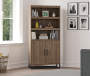 Salina Oak 5 Shelf Bookcase with Doors lifestyle living room