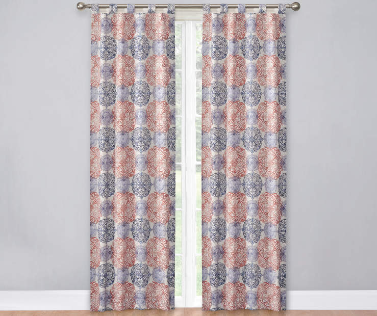 Salmon White and Blue Colorado Caelen Curtain Panel Pair 60X84 Window View