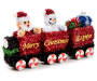 Santa and Snowman Train Tinsel Tabletop Decor silo angled
