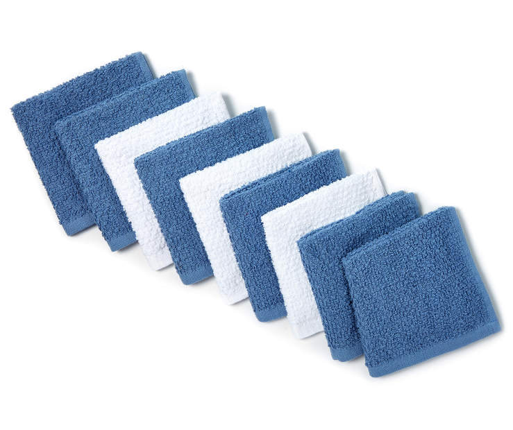 Sapphire Blue and White Wash Cloths 9 Pack silo front