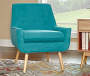 Sara Blue Flannel Mid Century Accent Chair lifestyle