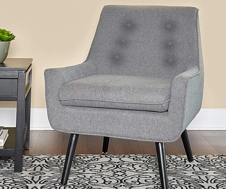 Sara Gray Flannel Mid Century Accent Chair lifestyle