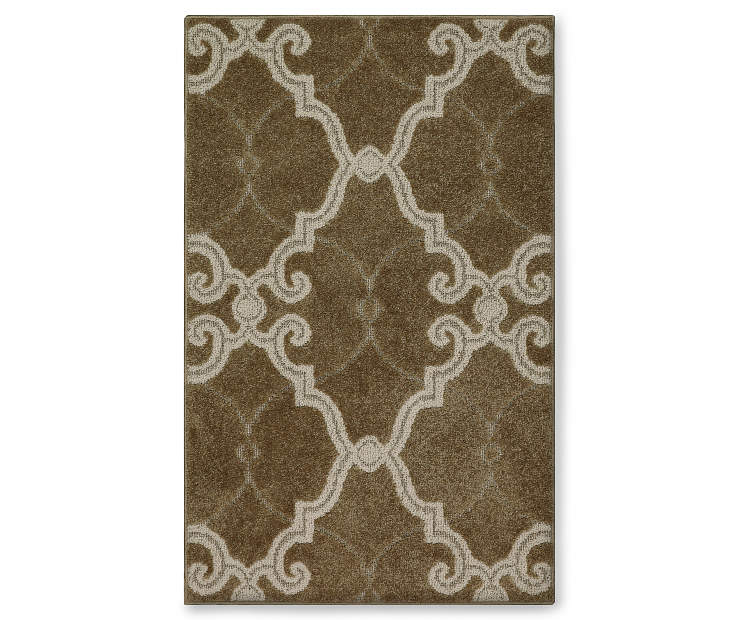 Scroll Fretwork Brown Accent Rug 20 by 34 Silo