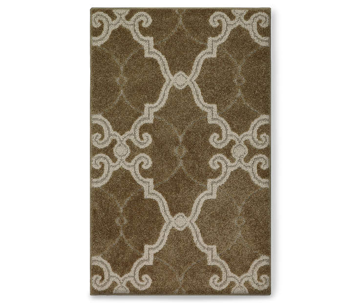 Scroll Fretwork Brown Accent Rug 30 by 46 Silo