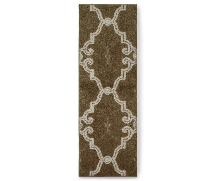 Scroll Fretwork Brown Accent Runner Silo