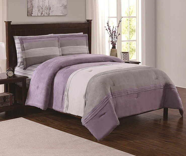 Serafina Purple Full Queen 7 Piece Comforter Set lifestyle bedroom setting