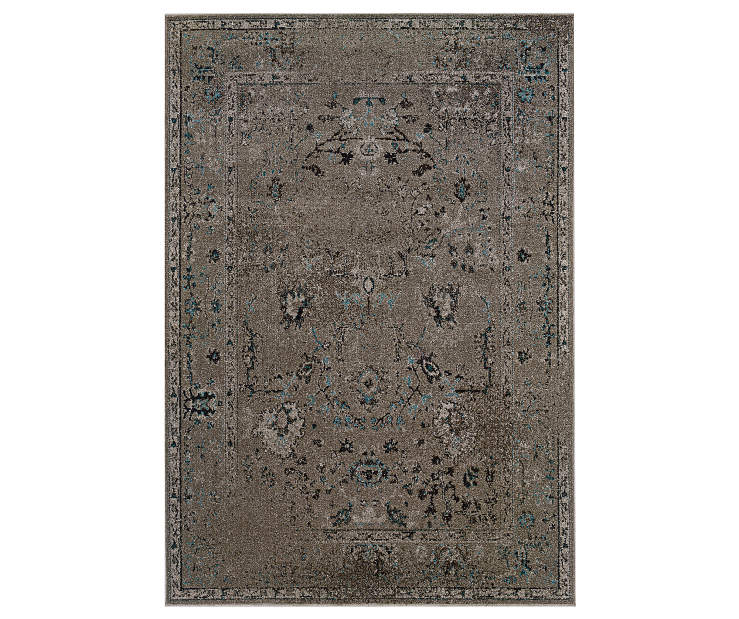 Shadow Gray Area Rug 5 Feet 3 Inches by 7 Feet 6 Inches Overhead View Silo Image