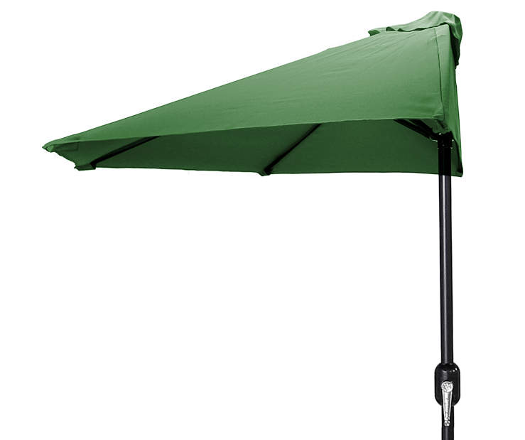 Shamrock Green Half Round Market Patio Umbrella 7 Feet 2 Inches with Hand Crank Front View Silo Image