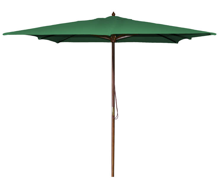Shamrock Green Square Wood Market Patio Umbrella 8.5 Feet with Pull String Front View Silo Image