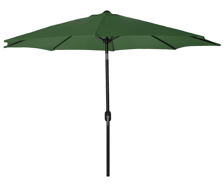 Shamrock Green Steel Market Patio Umbrella 9 Feet with Hand Crank Front View Silo Image