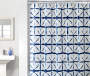 Shibori Blue and White Star PEVA Shower Curtain 72in bathroom setting