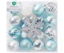 Silver Blue and White Snowflake Shatterproof Ornaments 24 Pack silo front package
