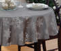 "Silver Snowflakes Jacquard Fabric Round Tablecloth, (60"")"