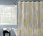 Silver and Gold Mixed Stripe Shower Curtain 72 Inches on Window Lifestyle Image