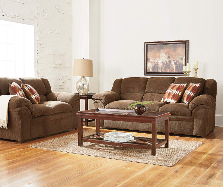 Furntiure: Simmons Verona Chocolate Chenille Living Room Furniture