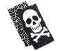 Skull Cross Bones and Spider Web Kitchen Towel 2 Pack Stacked and Fanned Overhead View Silo Image