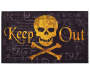 Skull Keep Out Outdoor Doormat 18 inch x 30 inch silo front