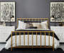 Slat Style Brushed Gold Queen Metal Bed Frame bedroom setting