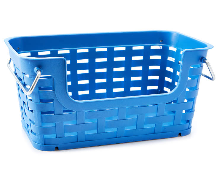 Small Blue Weave Stacking Bin silo front