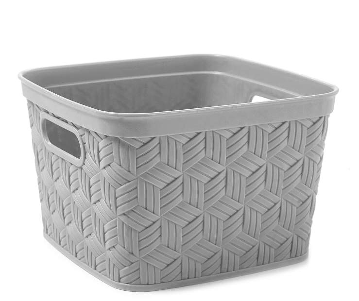 Small Gray Closed Weave Flex Basket silo front